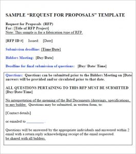Request for proposal template in project management
